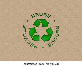 Recycling Icon with 3R text written around it, die-cut in recycle board over a green background. | 3D Illustration