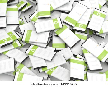 recycling mobile phone batteries 3d render