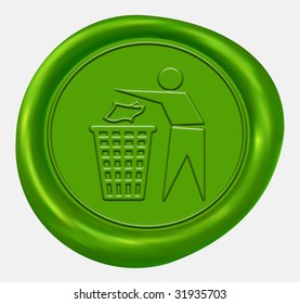Recycling Sign Green Wax Seal