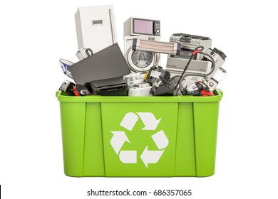 recycling trashcan with household and appliances , 3D rendering isolated on white background