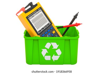 Recycling trashcan with oscillograph, 3D rendering isolated on white background