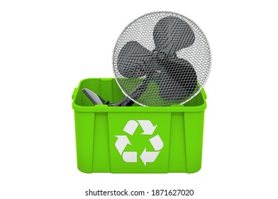 Recycling trashcan with table fan, 3D rendering isolated on white background