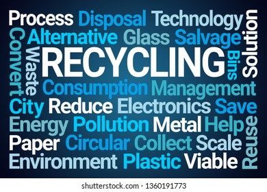 Recycling Word Cloud on Blue Background