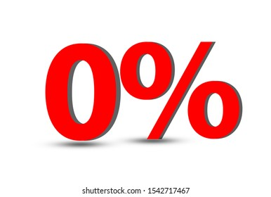 Red 0 % for special Offer or zero percentage on wooden background.
