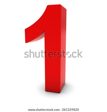 red 1 3 d number one isolated stock illustration 365329820