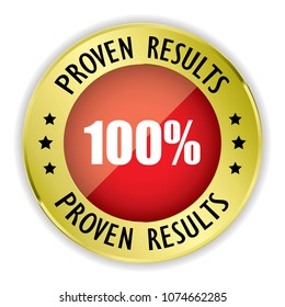 Red 100% Proven results badge with gold border on white background.