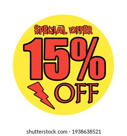 Red 15 percent discount button, and white background