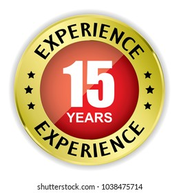 Red 15 years experience badge with gold border on white background.