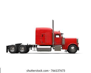 Red 18 wheeler truck - no trailer - side view - 3D Illustration