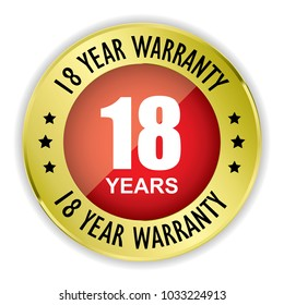 Red 18 year warranty badge with gold border on white background.