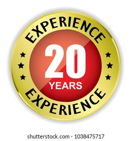 Red 20 years experience badge with gold border on white background.