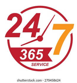 red 24 7 365, twenty four seven, round the clock service sticker, icon, label, banner, sign isolated on white