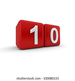 A red 3D block with white number ten