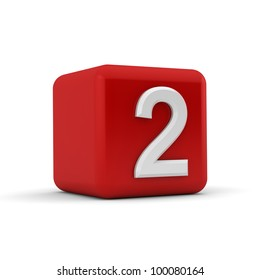 A red 3D block with white number two