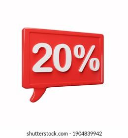 Red 3d discount 20 % box 3d illustration