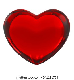 Red 3D Heart of Glass on White Background. 3D Illustration or Clip-art for Valentines Day