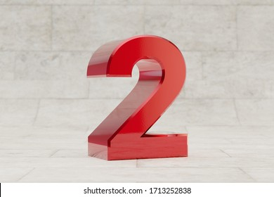 Red 3d number 2. Glossy red metallic number on stone tile background. Shiny metal alphabet with studio light reflections. 3d rendered font character.