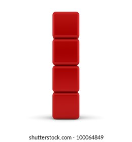 Red 3D rounded cubes isolated on white - abstract background