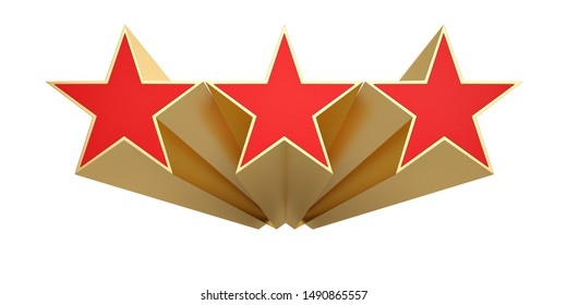 Red 3D star isolated on white background. 3D illustration.