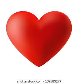 Red 3d valentine heart, raster illustration