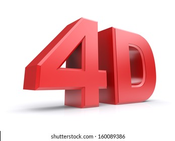 Red 3d word 4D. Isolated on a white background. 3d image