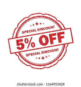 Red 5% off Special discount grunge rubber Stamp on white background.