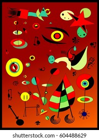 red abstract background inspired by miro 'French painter