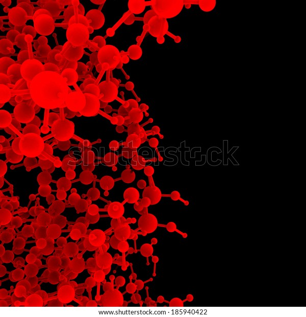 Red abstract molecule DNA on a black background