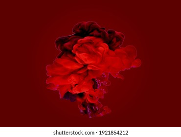 Red abstract smoke clouds on dark red background 3d illustration
