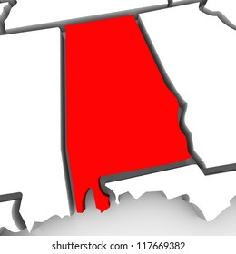 A red abstract state map of Alabama, a 3D render symbolizing targeting the state to find its outlines and borders