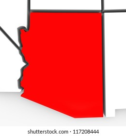 A red abstract state map of Arizona, a 3D render symbolizing targeting the state to find its outlines and borders