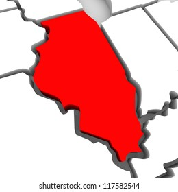 A red abstract state map of Illinois, a 3D render symbolizing targeting the state to find its outlines and borders