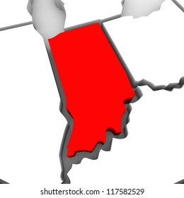 A red abstract state map of Indiana, a 3D render symbolizing targeting the state to find its outlines and borders