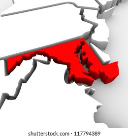 A red abstract state map of Maryland, a 3D render symbolizing targeting the state to find its outlines and borders