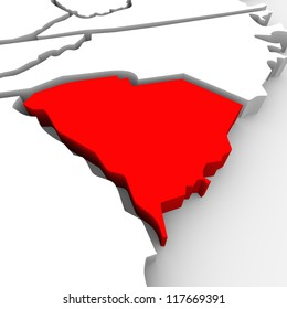 A red abstract state map of South Carolina, a 3D render symbolizing targeting the state to find its outlines and borders