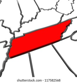 A red abstract state map of Tennessee a 3D render symbolizing targeting the state to find its outlines and borders