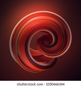 Red abstract twisted shape. Computer generated geometric illustration. 3D rendering