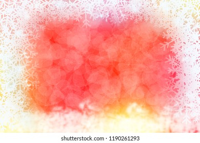 Red abstract winter background with snowflake frame.