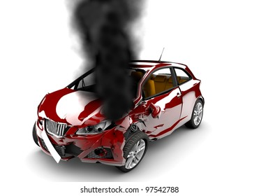 A red accident car is burned on a white background