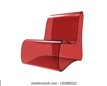 Red Acrylic Chair isolated on a white background