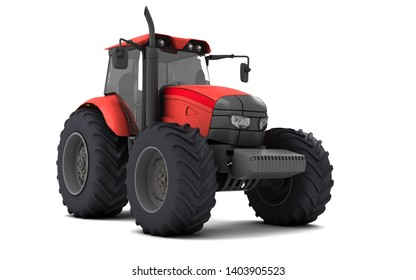Red agricultural wheel tracktor isolated on white background. Front side view. Perspective. Low angle. 3D render.
