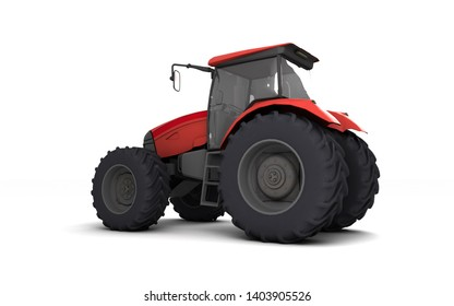 Red agricultural wheel tracktor isolated on white background. Rear side view. Perspective. Left side. Eye level. 3D render.