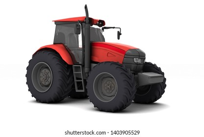Red agricultural wheel tracktor isolated on white background. Front side view. Perspective. Eye level. 3D render.