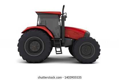 Red agricultural wheel tracktor isolated on white background. Side view. Right side. Low angle view. 3D render.
