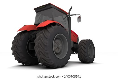 Red agricultural wheel tracktor isolated on white background. Rear side view. Perspective. Right side. Low angle view. 3D render.