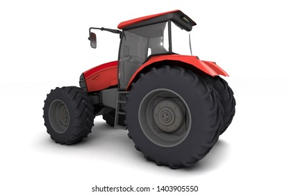 Red agricultural wheel tracktor isolated on white background. Rear side view. Perspective. Left side. Eye level. Wide angle. Fish eye lens. 3D render.