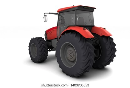 Red agricultural wheel tracktor isolated on white background. Rear side view. Perspective. Left side. High angle view. 3D render.