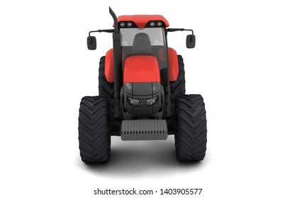 Red agricultural wheel tracktor isolated on white background. Front view. Eye level. 3D render.
