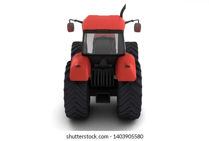 Red agricultural wheel tracktor isolated on white background. Rear view. Eye level. 3D render.