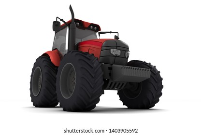 Red agricultural wheel tracktor isolated on white background. Front side view. Perspective. Right side. Low angle view. Bottom view. 3D render.